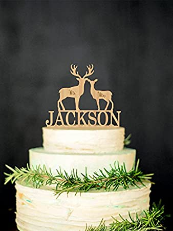 Deer Wedding Cake Topper Mr Mrs Personalized Rustic Silhouette