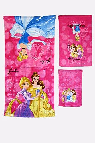 Bath Disney Princess (3 Pieces Disney Pixar 100% Cotton Bath, Hand, and Fingertip Towel Sets (Princess))