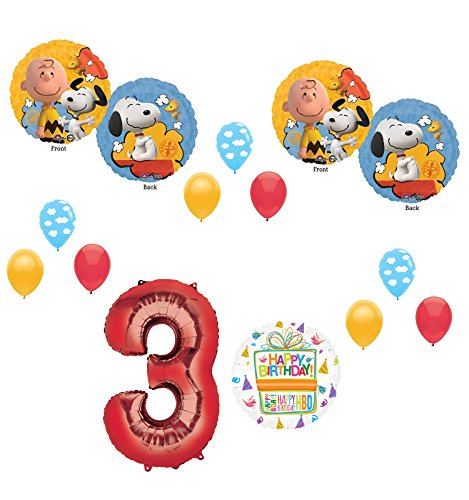 Charlie brown and Snoopy Peanuts 3rd Birthday Party Supplies and Balloon Bouquet -