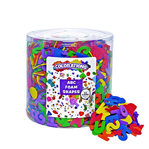 (Colorations ABC Foam Shapes in a Bucket Variety Pack 144 Pieces Arts and Crafts Materials (1/2 lb.))