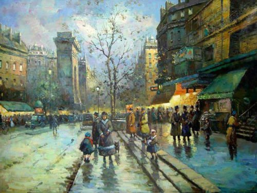 100% Genuine Real Hand Painted Beautiful Paris Street Scene with