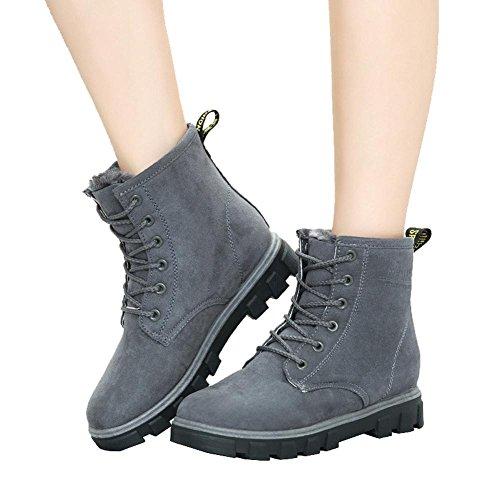 38 Flache Warme Knöchel Frauen Komfort Ferse Schnürsenkel Schuhe Leder Kurze Winter Lässig GRAU Schnee Stiefel Baumwolle qwqAxBtZ