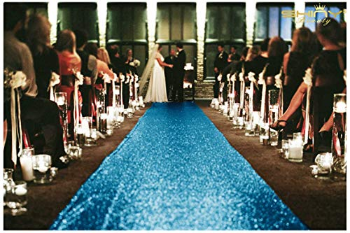 ShinyBeauty 4FTx30FT Aisle Runners for Weddings Sparkling Turquoise Aisle Runner Decoration of Beach/Church Wedding