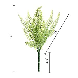 Felice Arts 4 PCS Artificial Boston Shrubs, Plastic Faux Fern Purple Fake Plant Inside Outdoor Decoration for Wedding, Garden, Farmhouse, Home Space, Office or Gifts 2