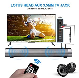Zyoda Bluetooth Small Sound Bar 4.0 Channel 15.7in 10W(2X5W) Wireless Subwoofer Stereo Speaker,Black(with Remote Control)