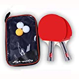 NEWNESS WORLD Ping Pong Paddle Set 2 Table Tennis Rackets Paddles Three Balls with Portable Travel Carrying Case for Home Indoor Outdoor Sport Training Bundle(Long Handle)