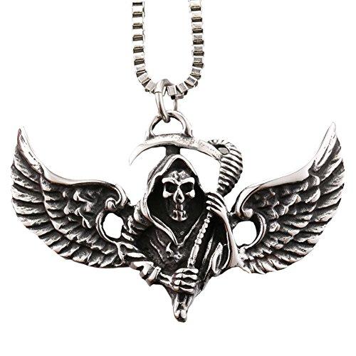 Men's Stainless Steel Pendant Necklace Silver Black Death Wing Grim Reaper Skull Punk Rock