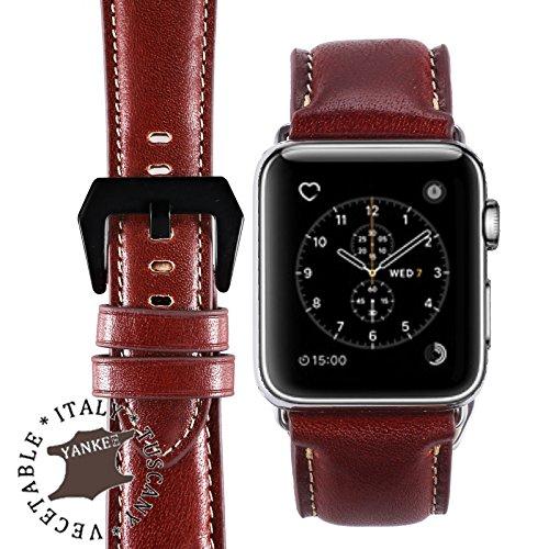 Italian Leather Band (BORAZI Series Premium Italian Yankee Leather Watch Strap for Apple Watch Series 1, 2 & 3 (Whisky Classic - Black Buckle 42mm))