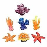 OKDEALS Mini Artificial Coral Plant for Fish Tank Decorative Aquarium Reef Ornament 7Pcs Set