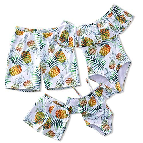 Yaffi Family Matching Swimsuit 2019 Newest One Piece Pineapple Printed Ruffles Monokini Off Shoulder Bathing Suit Men: L White
