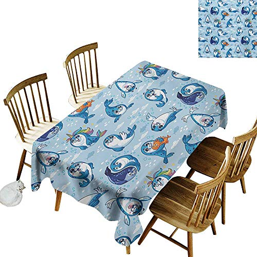 Seal Pup Tiger - Polyester Rectangular Tablecloth W52 x L70 Sea Animals Seal Pup Cartoon Aquatic Wildlife Friendly Hugging Water Bubbles Kids Blue White Marigold Suitable for Traveling Outdoors Family Restaurant COF