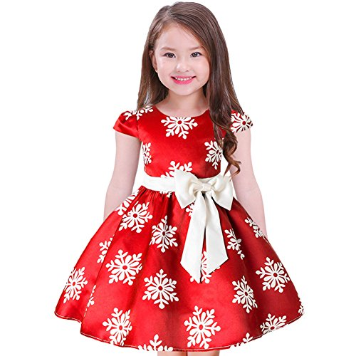 Christmas Snowflake Print Dress for Girls Cap Sleeve Toddler Little Big Princess Birthday Party Pageant Ball Gown Formal Casual Flower Girl Wedding Party Dresses for Kids Xmas Gift Red Snowflake 7-8Y (Christmas Wear Pageant Theme)