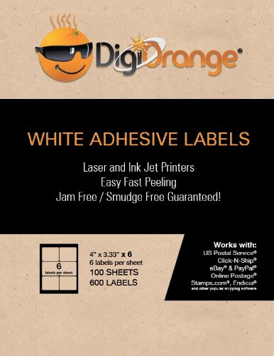 "DigiOrange Shipping/Mailing Labels 600 Laser Inkjet Labels 6 on sheet. 100 Sheets. 4"" x 3.33"""