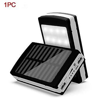 UxradG Cargador de batería Solar portátil para teléfono móvil de 15.000 mAh, Cargador Externo con Doble USB, Negro: Amazon.es: Deportes y aire libre