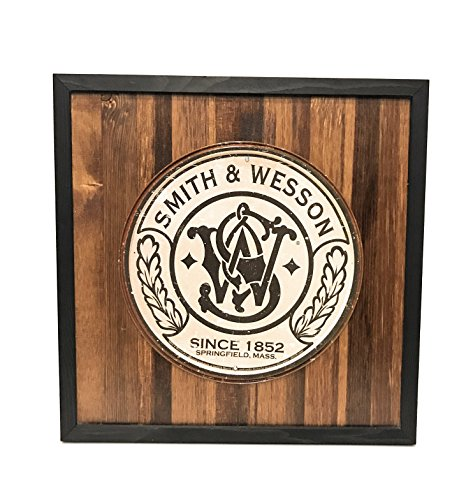 Smith And Wesson Metal Frame - Vintage Smith & Wesson Logo Metal Sign Wood Frame