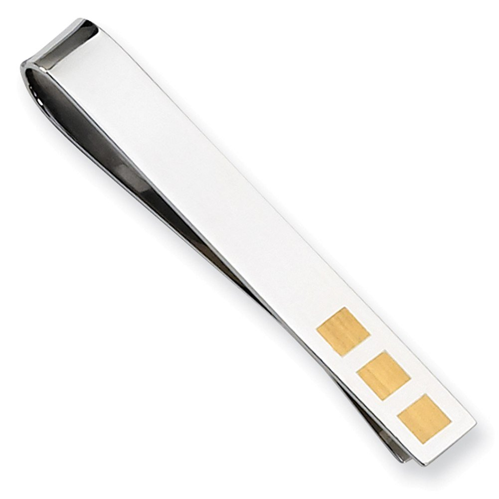 Lex & Lu Chisel Stainless Steel Yellow Plated Tie Bar 58mm-Prime by Lex & Lu