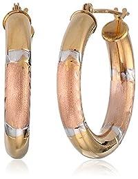"""Duragold 14k Tri-Color Diamond-Cut Hoop Earrings, (0.9"""" Diameter)"""