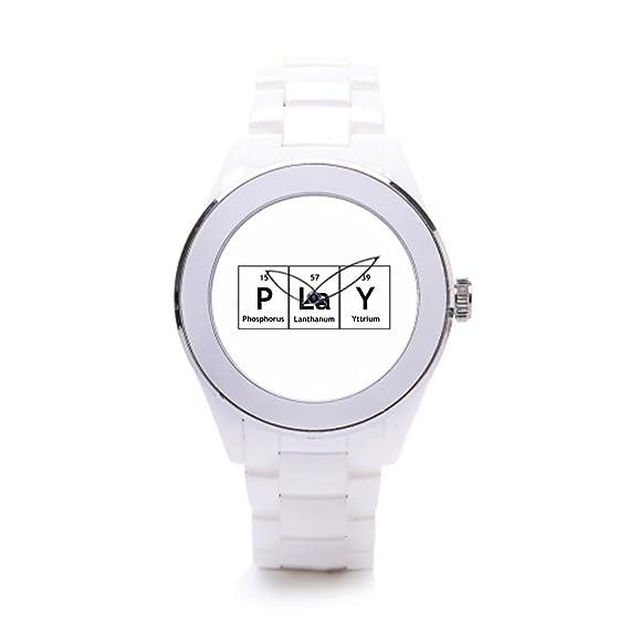 hiyane lujo relojes Marcas Play química elementos palabra color blanco/plateado: Amazon.es: Relojes