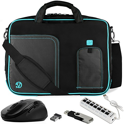 VanGoddy Blue Trim Laptop Messenger Bag w/Flash Drive, Mouse & USB Hub for Acer R 13 2-in-1 13.3