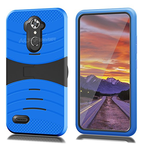 ZTE N9560 Case, HJ Power[TM] For ZTE [Max XL] (Virgin Mobile, Boost Mobile)--RUGGED Hard Rubber w V Stand Case Black Blue (Window Phones For Boost Mobile)
