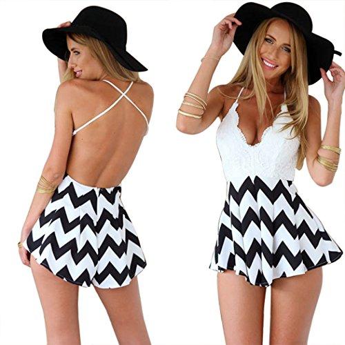 Moxeay Deep V Neck Playsuit Backless Chiffon Short Jumpsuit (M, (Chiffon Womens Shorts)