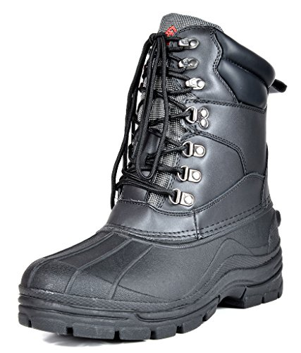 (DREAM PAIRS Men's Denver-1 Black Insulated Waterproof Winter Snow Boots Size 11 M US)