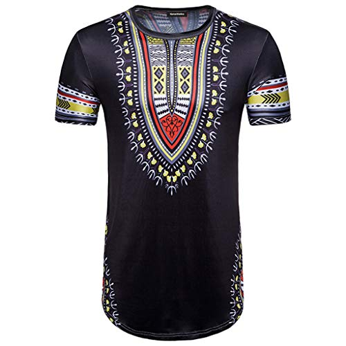 Yucode Men Unique Fashion Summer Casual African Print O Neck Pullover Short Sleeve T-Shirt Top Blouse