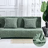 DW&HX Stretch Full Cover Sofa Cover, Armless Solid Color 1-Piece Cotton Couch Cover Furniture Protector for 1 2 3 4 Cushions Sofas Without Pillowcase-Dark Green 120~155cm