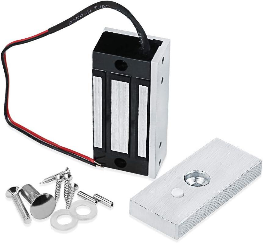 130 libras para sistema de control de acceso de puerta DC12V electroim/án modo NC a prueba de fallas LUCINE Cerradura magn/ética el/éctrica de fuerza de sujeci/ón de 60 kg