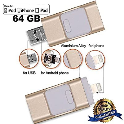Flash Drive 64 GB for iphone, LU2000 i-Flash U-Disk Memory Lightning Storage Memory Extension Stick for iPhone, iPad, iPod, Mac, Android and PC - Gold