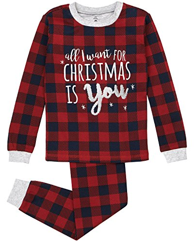 Kid's Holiday Sleepwear, Matching 2-Piece Quality Stretchy Cotton Pajama Set,cherry plaid,4 ()