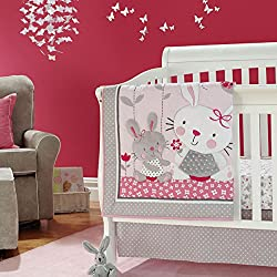 New Baby Girls Pink Grey Animal Little Bunny 7pcs Crib Bedding Set with Bumper
