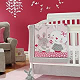 New Baby Girls Pink Neutral Animal Little Bunny 7pcs Crib Bedding Set with Bumper