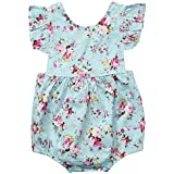 Colorfog Infant Baby Girls Romper Floral Bodysuit Sunsuit Summer Clothes Outfits Light Blue (0-6 Months(Tag #70))