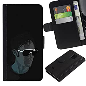 UNIQCASE - Samsung Galaxy S5 Mini, SM-G800, NOT S5 REGULAR! - Cool Sunglasses Guy - Cuero PU Delgado caso cubierta Shell Armor Funda Case Cover