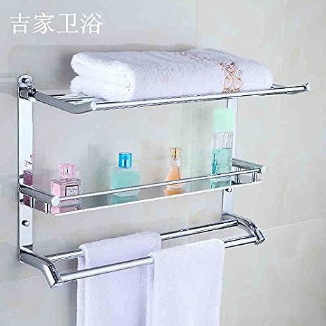 Toalla de baño o cocina Bar titular de Rack de almacenamiento de montaje en pared,organizar todo el estante con toallas y toallas,Bandeja de acero ...