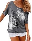 Lovaru Women's O Neck Feather Print Shirt Casual Cutout Sleeve Top Blouse, Grey, Large