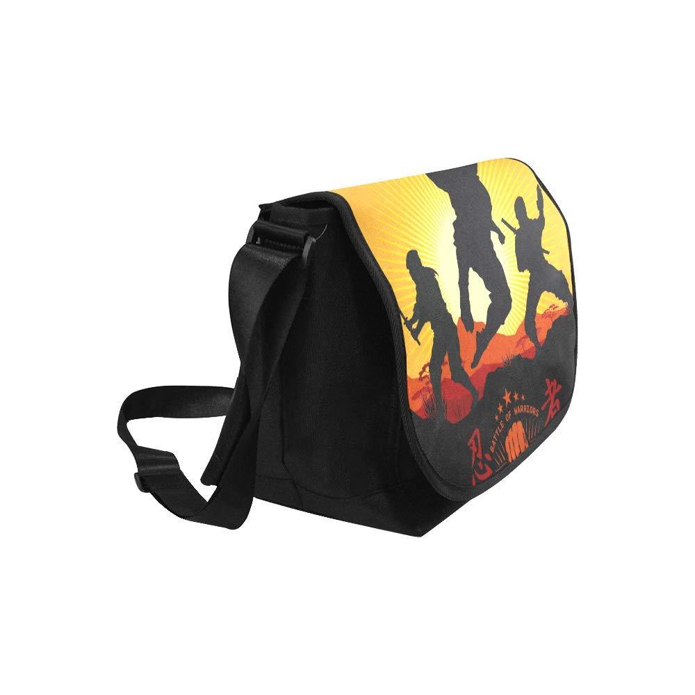 Black InterestPrint Ninja Samurai Mens Womens Messenger Bag Crossbody Shoulder Bags for School Traveling