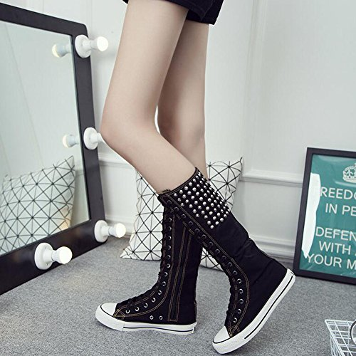 Women's Lace Platform Long Rivet Boots PP Canvas Heel Knee Fashion Dance Black up Flat Shoes Rivet vEIwq5w