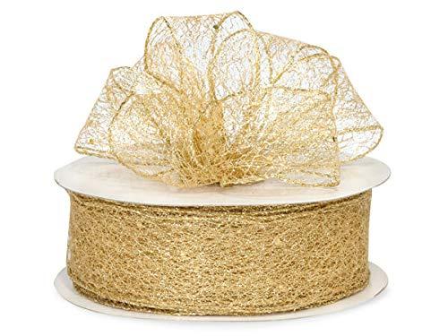 (Wired Metallic Gold Mesh Weave Ribbon 1.5
