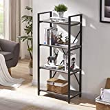 BON AUGURE 4-Shelf Open Narrow Bookshelf, Vintage Industrial Bookcase, Rustic Wood and Metal Shelf, Dark Oak Review