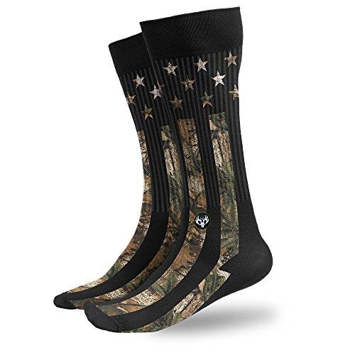 Buck Wear Camo Stars and Stripes Socks, Men's 9-15