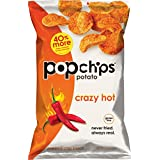 Popchips Potato Chips, Crazy Hot Potato Chips, 12 Count (5 oz Bags), Gluten Free Potato Chips, Low Fat, No Artificial Flavoring, Kosher