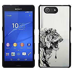 Design for Girls Plastic Cover Case FOR Sony Xperia Z3 Compact Tiger Grey Black Drawing Painting Art OBBA