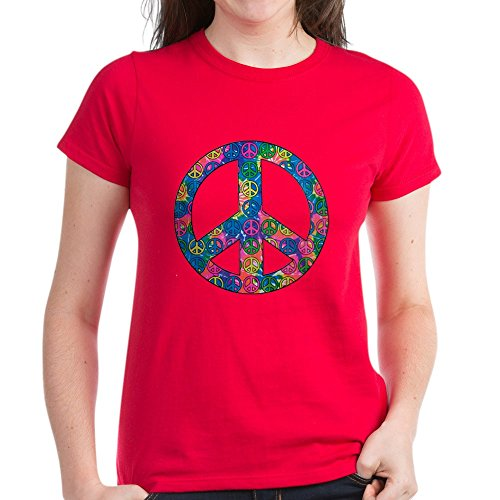 (Royal Lion Women's Dark T-Shirt Peace Symbols Inside Tye Dye Symbol - Red, Large)