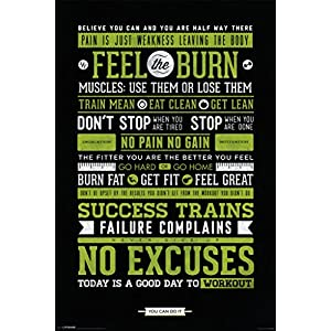 Workout Posters for Home Gym Feel The Burn Motivational Exercise Inspirational Cool Wall Decor Art Print Poster 12×18