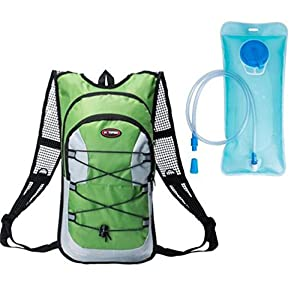Monvecle Hydration Pack Water Rucksack Backpack Bladder Bag Cycling Bicycle Bike/Hiking Climbing Pouch + 2L Hydration Bladder Green-1