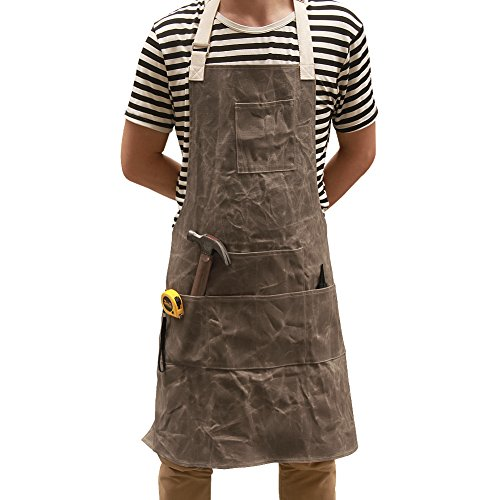 Utility Waxed Canvas Work Apron Multi-Use Shop Aprons with Six Pockets Heavy Duty Waterproof Tool Apron for Men Women (Dark Gray, Adjustable Neck Strap) WQ03-2 by QEES