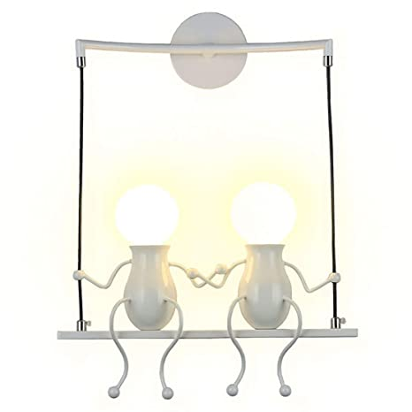 Southpo Led Wall Light Fixtures Creative Double Little People Mini Wall Sconces Lighting Modern Decor Adjustable Swing Metal Bedside Lamp Children