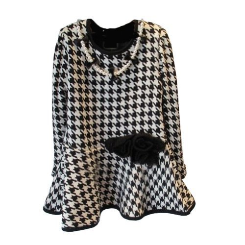 Little Wardrob Girl's Thermal Dog Tooth Patterned Dress Black And White 5-6Years